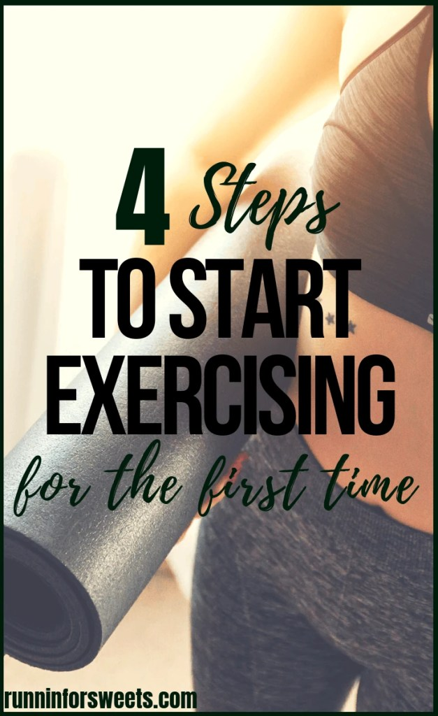 These 4 simple steps will help you start a fitness routine with ease – even for the very first time! Learn how to start exercising and begin working out to improve your life. You'll feel stronger and more confident in no time. Check out this motivating strategy for beginners! #startexercising #startworkingout #fitnessroutine