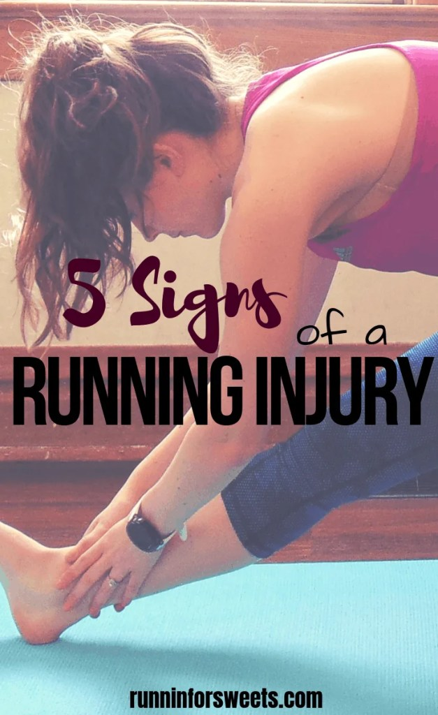 It can be tough to tell whether you're experiencing running pain or just general discomforts that come along with training. Here are 5 signs of a running injury that you cannot ignore. Learn how to prevent running injuries by recognizing the signs – whether it's pain in your foot, hip, calf, knee, ankle or anywhere else. #runninginjuries #runningpain #healthyrunning