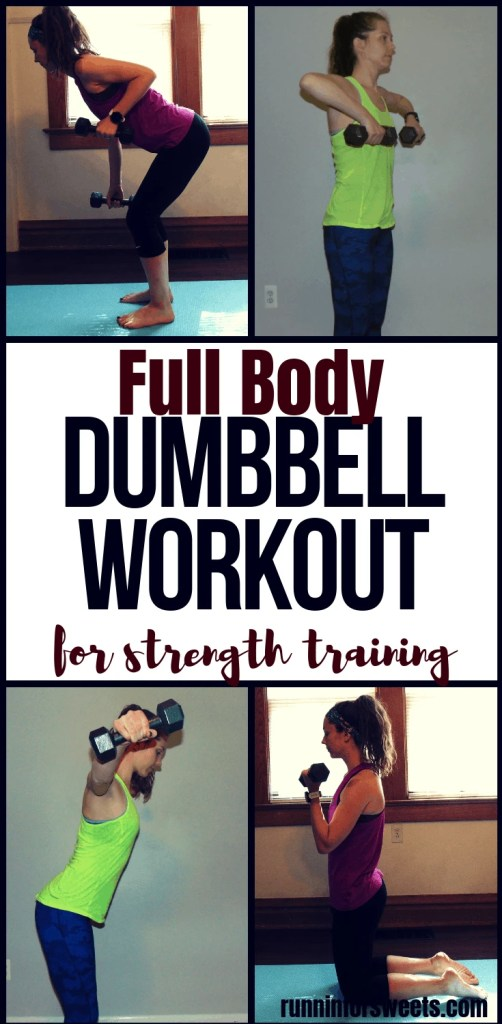 This 20 minute full body dumbbell workout is perfect for at home strength training. Complete with 8 dumbbell exercises, this workout targets the arms, legs and abs to help you build muscle and stay strong during training. #dumbbellworkout #dumbbellexercises #strengthtraining