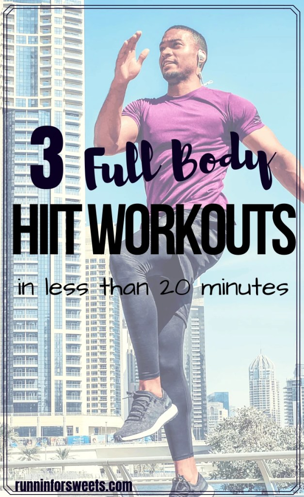 These 3 quick HIIT workouts are a great way to burn fat right at home! Each no equipment workout requires less than 30 minutes for full body cardio and strengthening. Try one or all of these HIIT exercises for both beginner and advanced athletes #hiitworkout #hiitexercises #athomeworkout