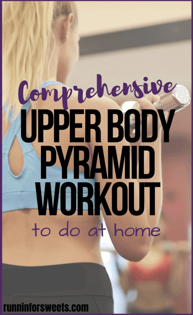 This Upper Body Workout is a simple, effective way to build strength and muscle right at home. With no equipment needed other than a pair of dumbbells, these arm exercises target the biceps, triceps, shoulder, back and chest. Enjoy this pyramid style workout for epic strength training! #upperbodyworkout #armworkout #pyramidworkout