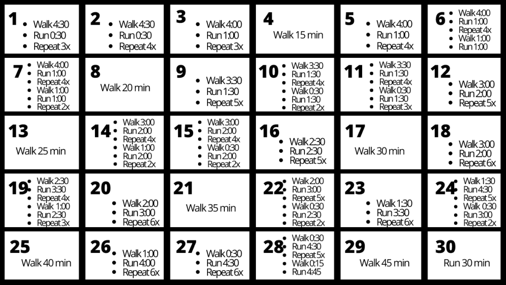 This 30 Day Running Challenge is the ultimate plan for beginners! Increase your distance, endurance and stamina with this monthly workout plan for runners. In just 30 days you'll go from walking to running for 30 minutes! #runningchallenge #runningworkout #runningforbeginners
