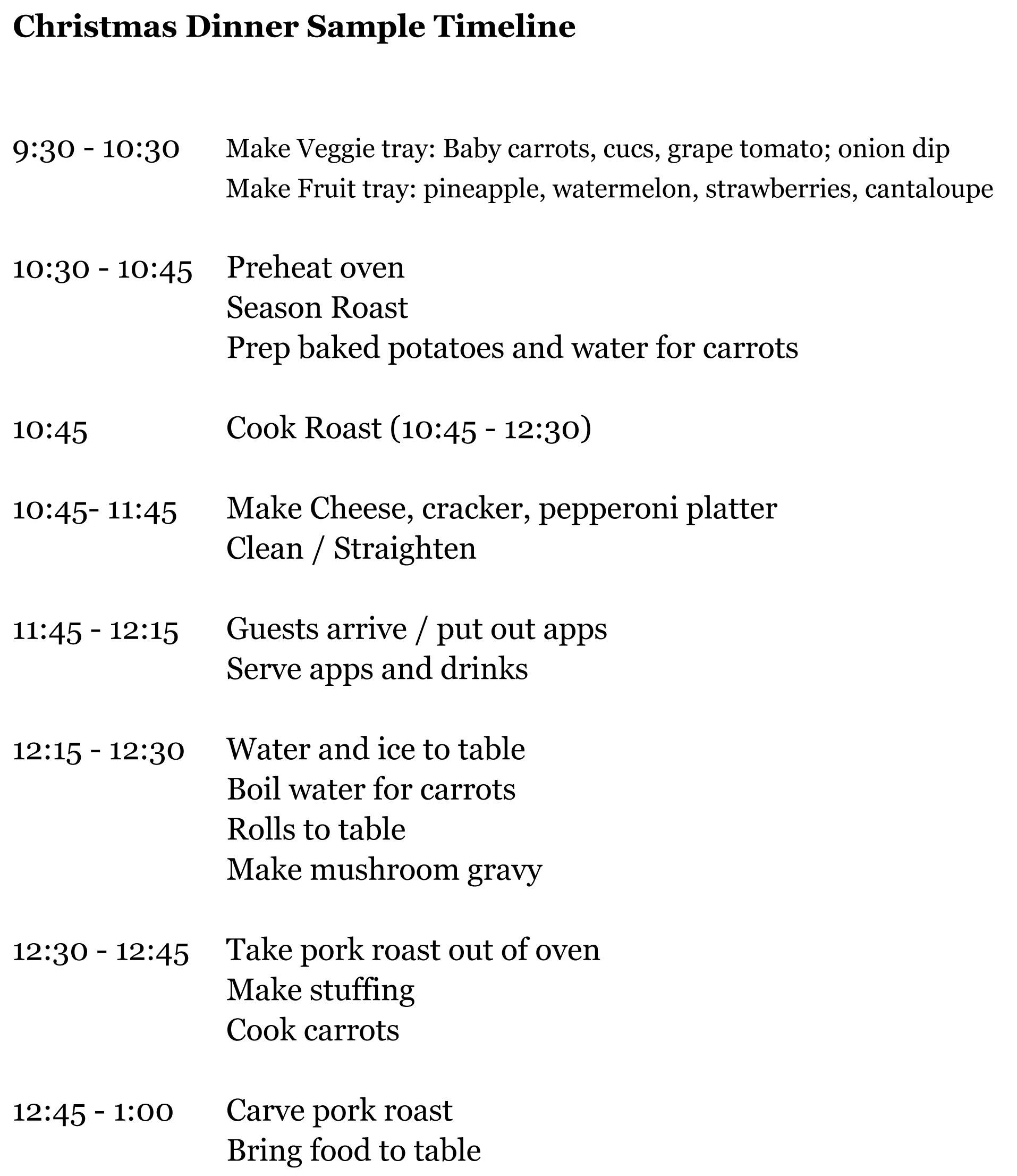 Planning Christmas Dinner