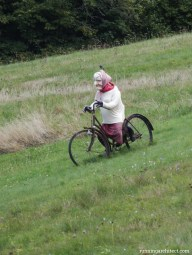 Czech grandma riding downhill