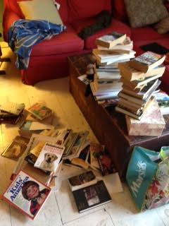 books on floor