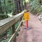 Warning Sign on Sandero Diez Vistas Trail, Coquitlam British Columbia