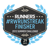 Runner's World Run Streak badge for completing summer run challenge