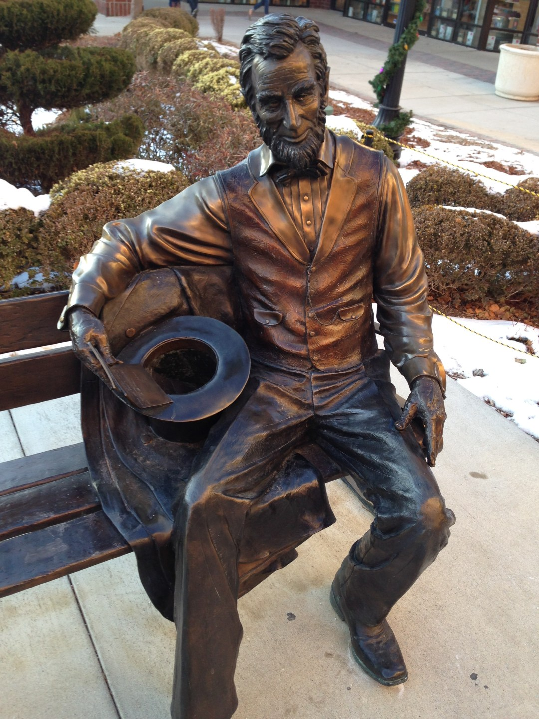Even Abe looks chilly.
