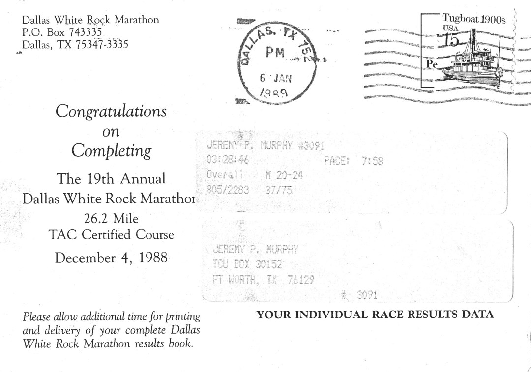 Finish stats DWRM 1988