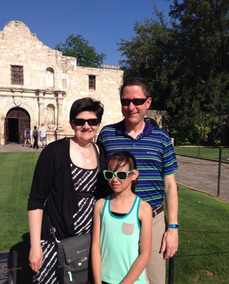 Murphy family at the Alamo in San Antonio, TX (with my wife and our daughter)