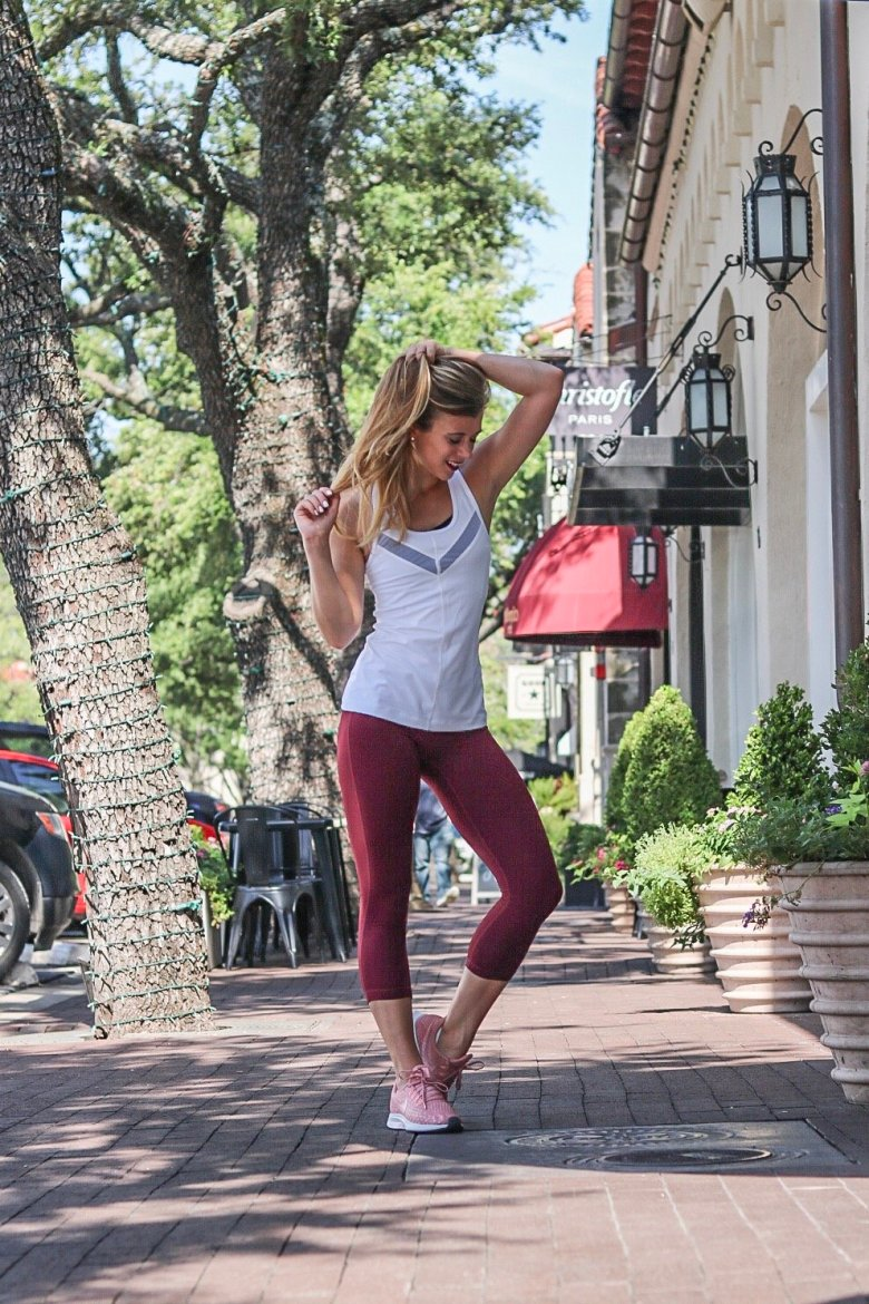 Basics to buy from the Nordstrom Anniversary Sale, featured by top US fashion blog, Running in Heels: image of a woman wearing Zella leggings from Nordstrom