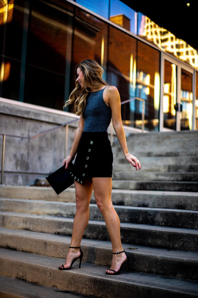 2019 Goals for Running in Heels | Sparkly body suit and black mini skirt
