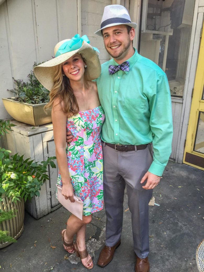 Kentucky Derby party outfit for him and her | Running in Heels | Garden chic
