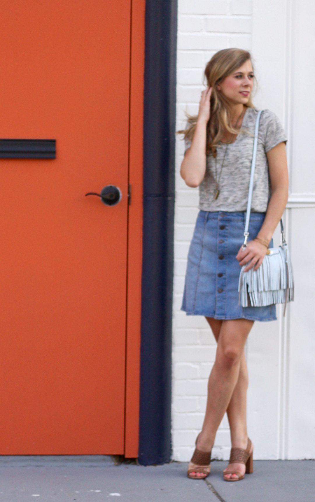 Denim Skirt Casual Weekend Running In Heels