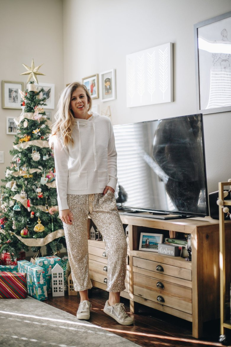 How to Style Your Favorite Gold Sequin Joggers for the Holidays, tips featyred by top Dallas fashion blogger, Running in Heels.