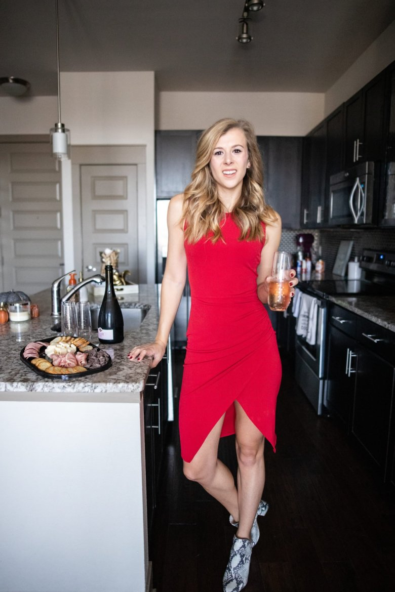 Hosting Tips for the Best Friends Holiday Party, try a Hillshire Farm snacking platter and wear a festive holiday red dress. Feature by top US fashion and lifestyle blogger Running in Heels