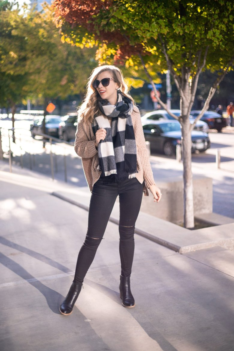 How to Tie a Blanket Scarf, tips featured by top US fashion blog, Running in Heels: the standard wrap