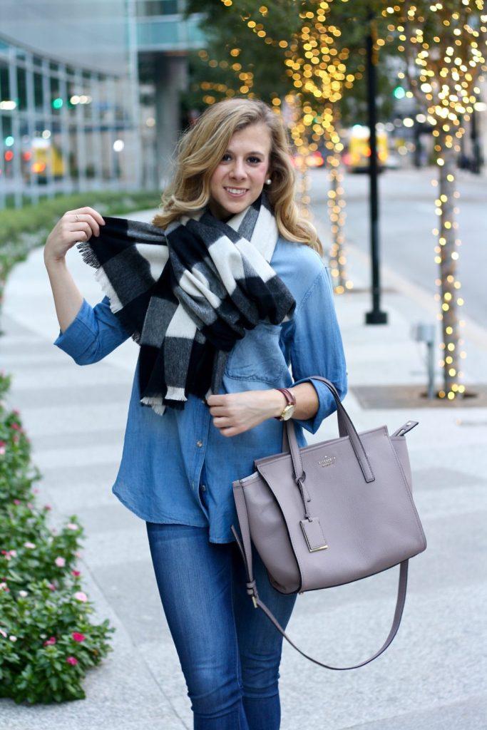 4 Ways to Tie Your Blanket Scarf | Fall Fashion | Winter Fashion | Chambray | Denim on Denim