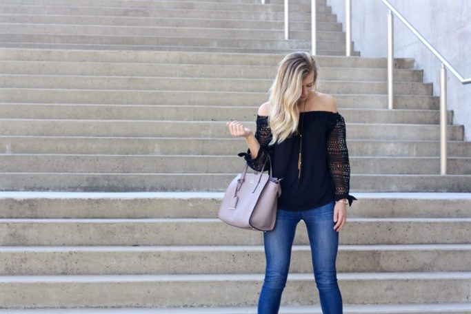 Running in Heels Blog, OTS, off the shoulder top in Fall, lace sleeves