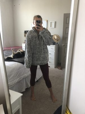 Basics to buy from the Nordstrom Anniversary Sale, featured by top US fashion blog, Running in Heels: image of a woman wearing a Thread and Supply Wubby Fleece Pullover