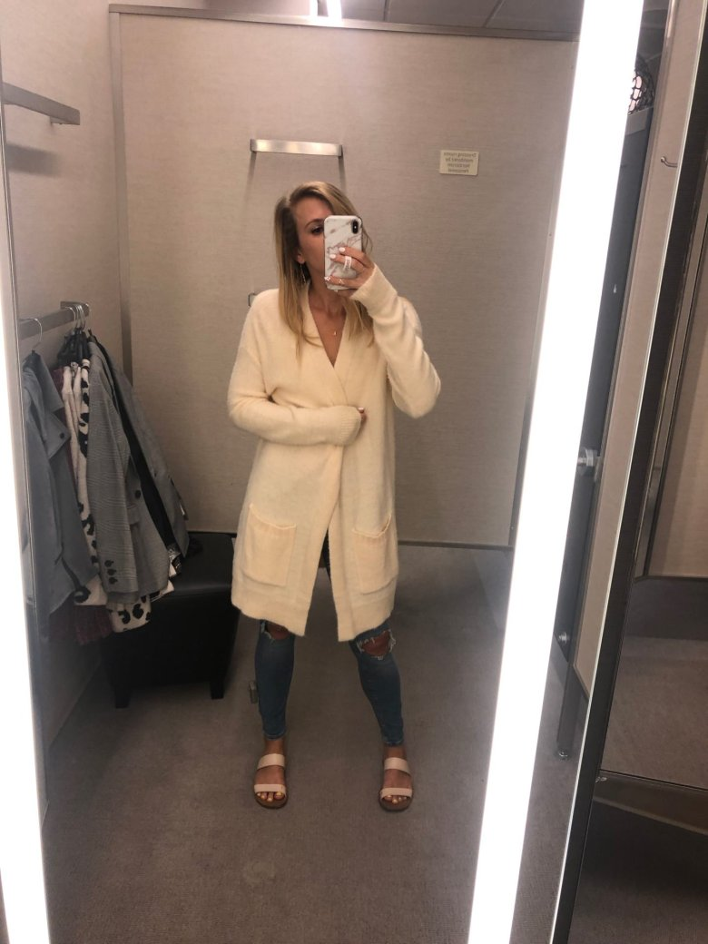 Basics to buy from the Nordstrom Anniversary Sale, featured by top US fashion blog, Running in Heels: image of a woman wearing a long cardigan