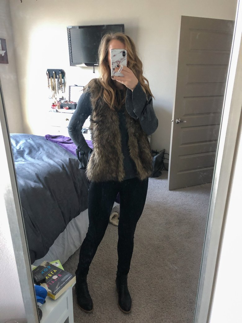 Everyday Outfits | What I Wore 12.8-12.14 | Outfit showing HM fur vest, grey sweater, DL 1961 black jeans, and Italeau black leather booties featured by top US fashion blogger Running in Heels