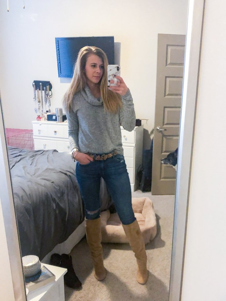 Nordstrom BP cowl neck sweater, jeans, and Sam Edelman boots featured by Top US fashion and lifestyle blogger, Running in Heels.