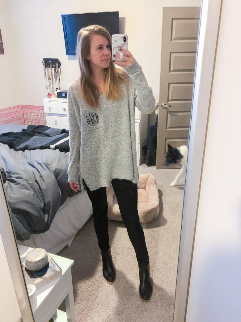 Marley Lilly monogrammed sweater, black jeans by DL1961, and black Itlaeau booties featured by Top US fashion and lifestyle blogger, Running in Heels.