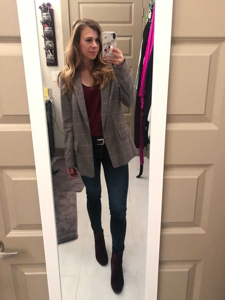 Plaid oversized boyfriend blazer, burgundy tank top, jeans, and velvet booties featured by Top US fashion and lifestyle blogger, Running in Heels.