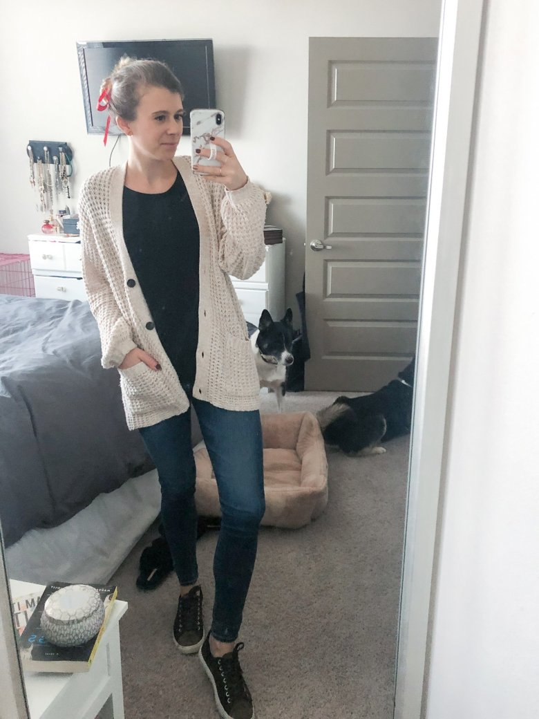 Waffle knit cardigan, black t-shirt, AG ankle jeans, and black leather sneakers featured by Top US life and style blogger Running in Heels.