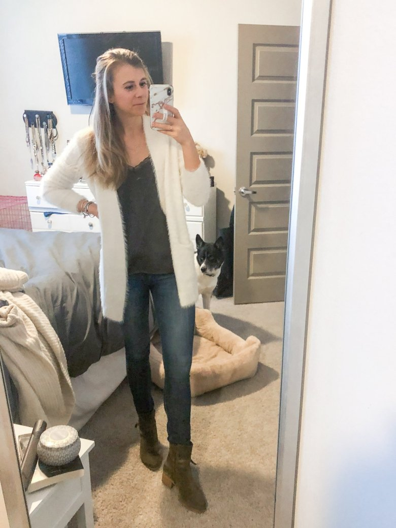 Army green cami under a cream eyelash sweater, jeans, and Italeau booties.