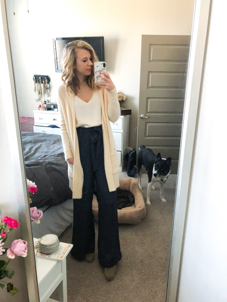 Top US fashion and lifestyle blogger, Running in Heels wears polka dot wide leg pants with fluffy cardigan sweater and cream colored cami.