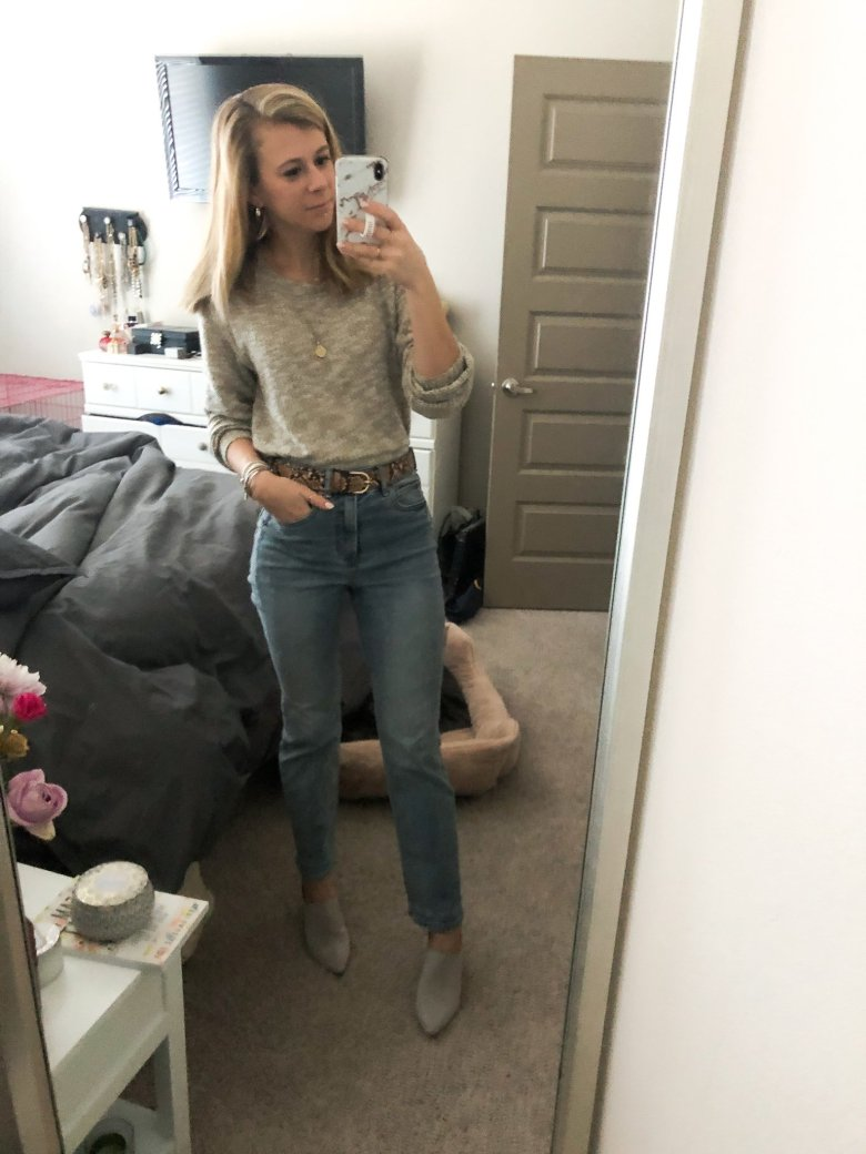 Top US fashion and lifestyle blogger, Running in Heels wears Nordstrom sweater with Express straight leg jeans and Journee mules with snakeskin belt.