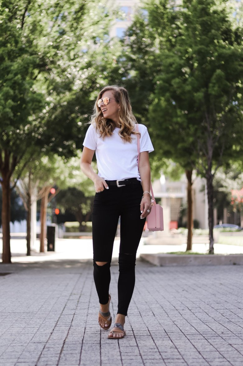 5 Mott and Bow Shirts and Styles featured by top Dallas fashion blogger, Running in Heels: image of a woman wearing a Mott and Bow shirt