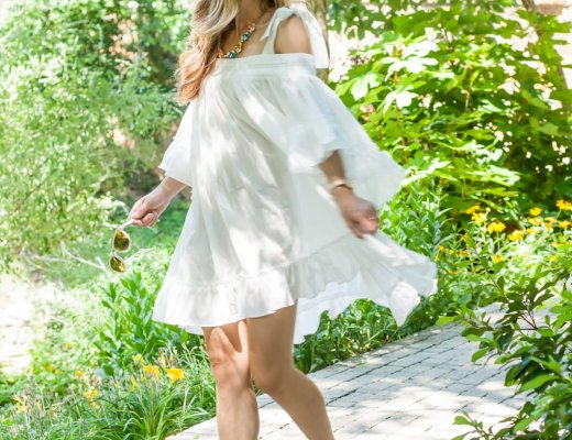 White Flowy Ruffle Dress