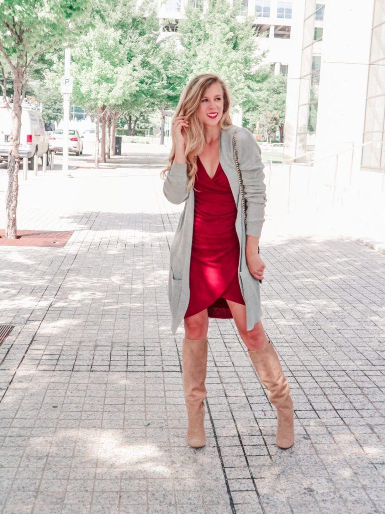 Why You should not buy OTK boots this fall, buy slouch boots instead | Running in Heels | blonde girl wears a red bodycon ruched dress with long gray cardigan, tan slouch boots by Sam Edelman