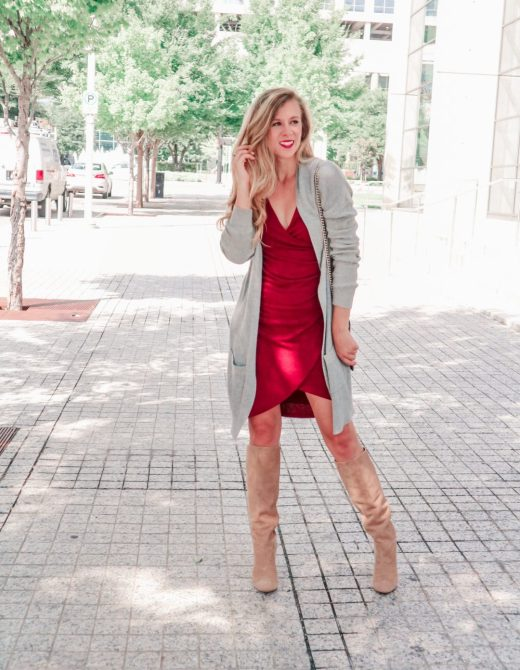 Why You should not buy OTK boots this fall, buy slouch boots instead   Running in Heels   blonde girl wears a red bodycon ruched dress with long gray cardigan, tan slouch boots by Sam Edelman