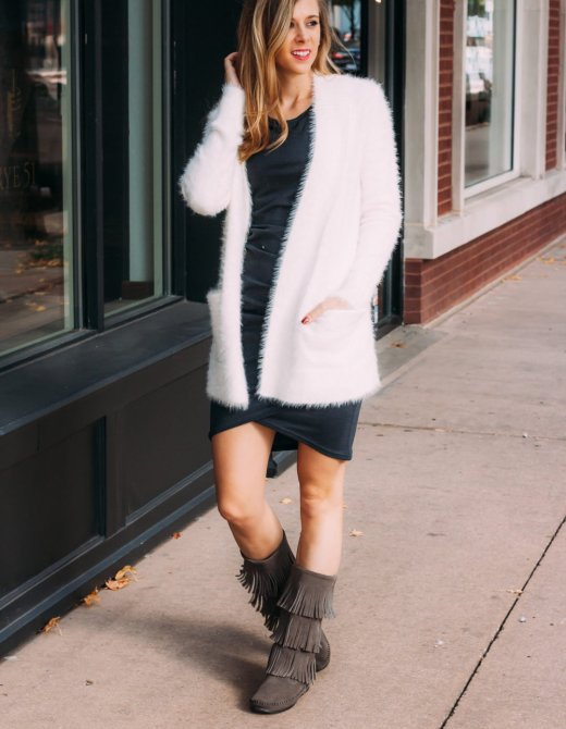 Nordstrom Ruched Dress | Fuzzy Cardigan | Fringe Boots | Running in Heels