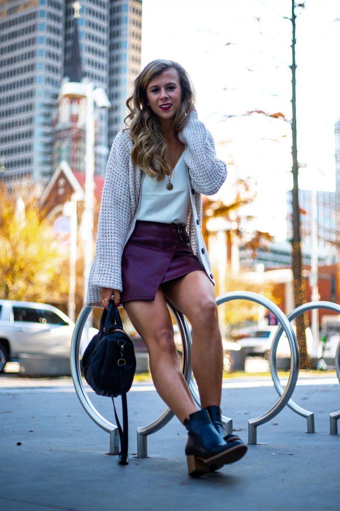Skirt & Waffle Knit Sweater