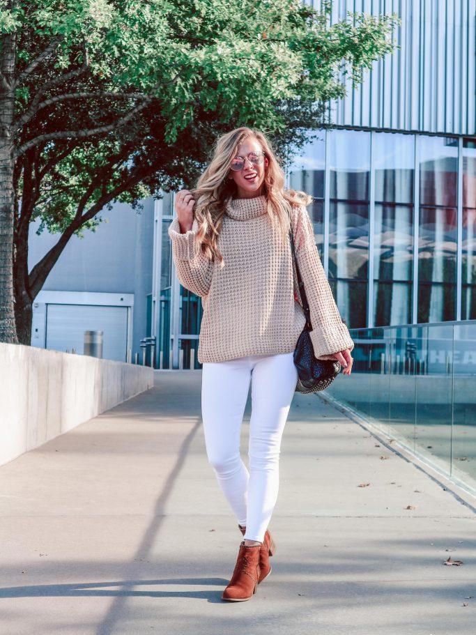 Jeans & Waffle Knit Sweater