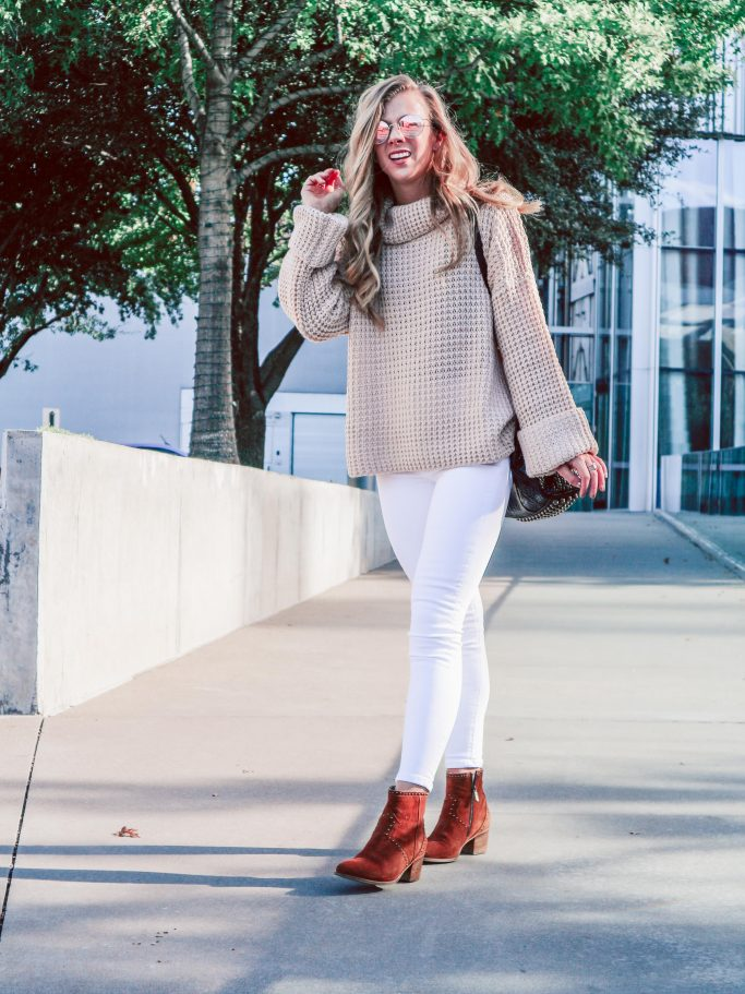 White Jeans - Waffle Knit Sweaters