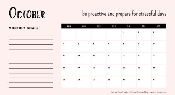October 2020 Mental Health Calendar