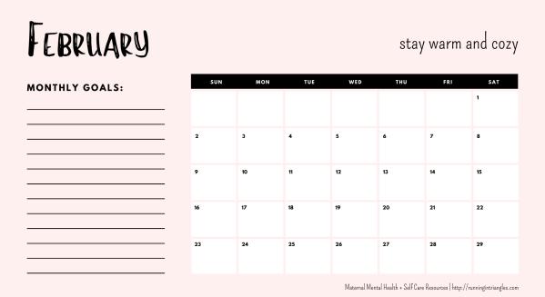 February 2020 Mental Health Calendar