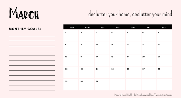 March 2020 Mental Health Calendar