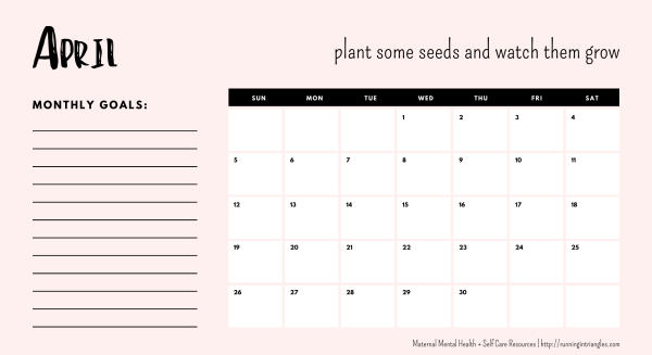 April 2020 Mental Health Calendar