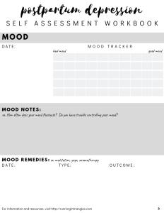 Postpartum Depression Self Assessment Workbook Preview
