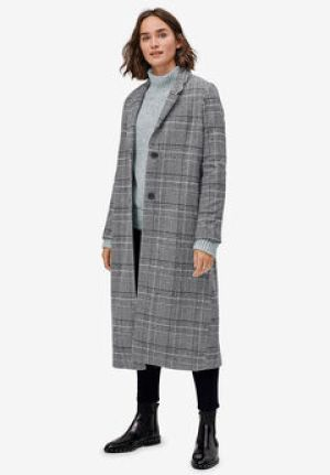 Wool Blend Long Plaid Coat - Woman Within