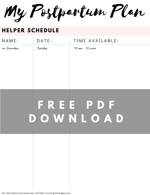 Postpartum Helper Schedule