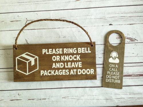 Work from home door signs