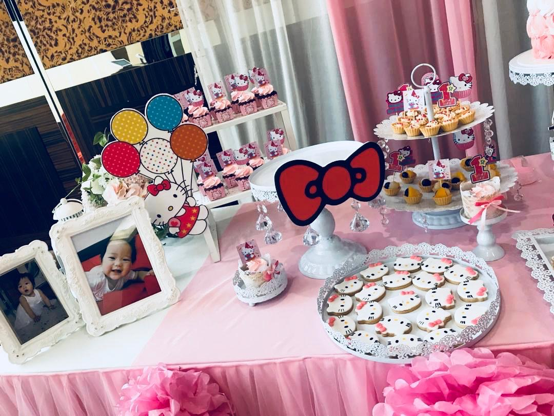 runningmen catering baby shower event footage with photo booth hello kitty cakes